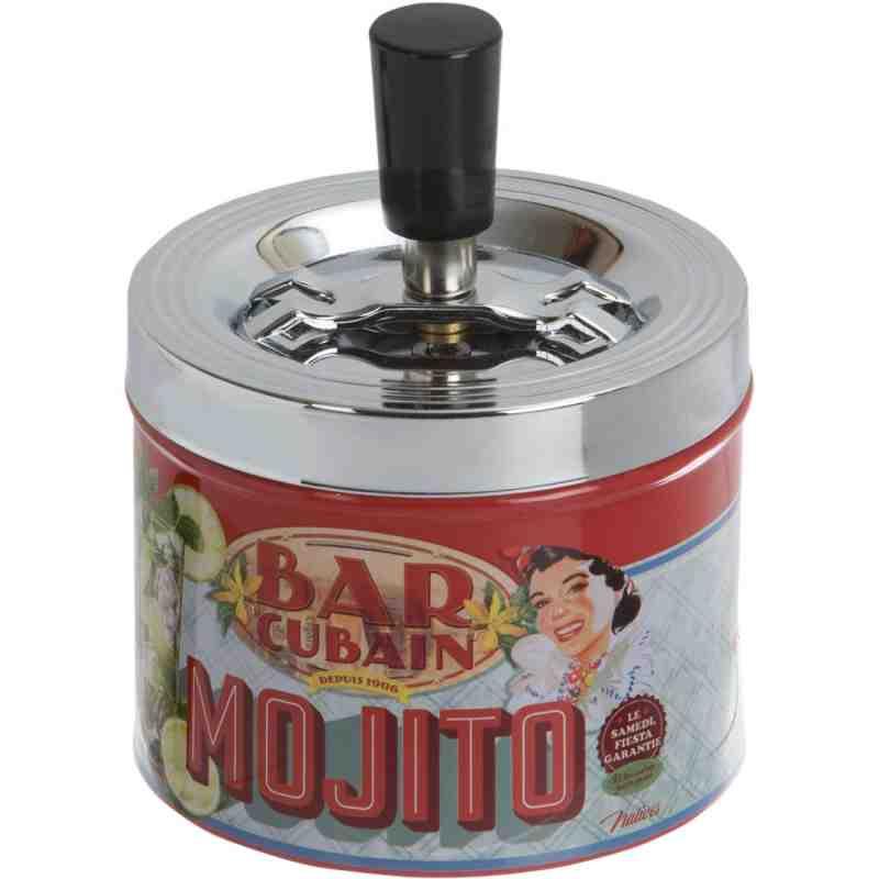 """Cendrier poussoir métal fun """"Mojito"""""""