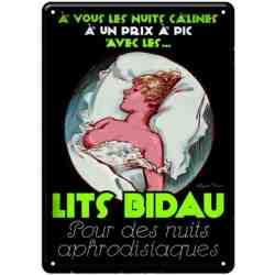 """Plaque Métal """"LITS BIDAU"""" - 14 x 20"""