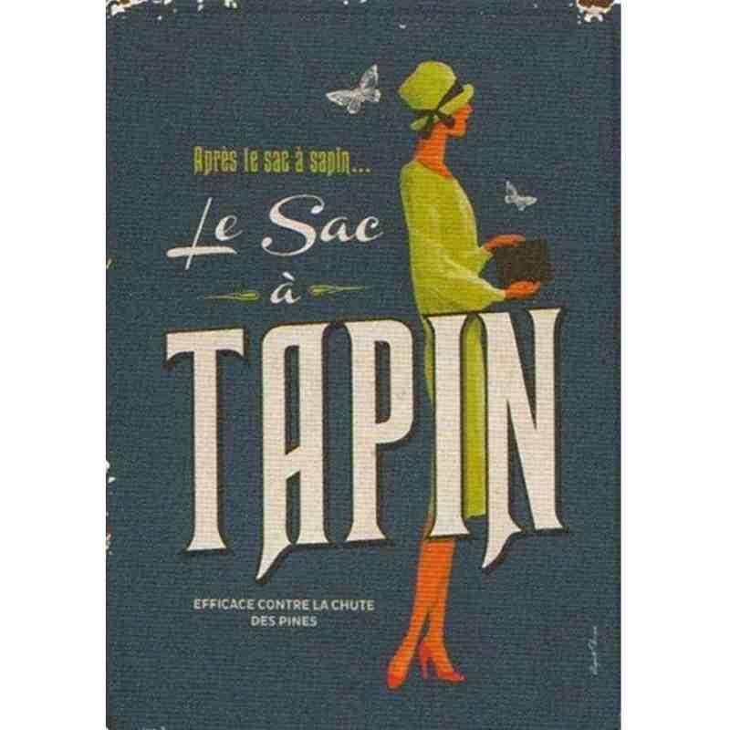 """Plaque Métal Rétro """"Le Sac à Tapin"""" - 14 x 20 cm"""