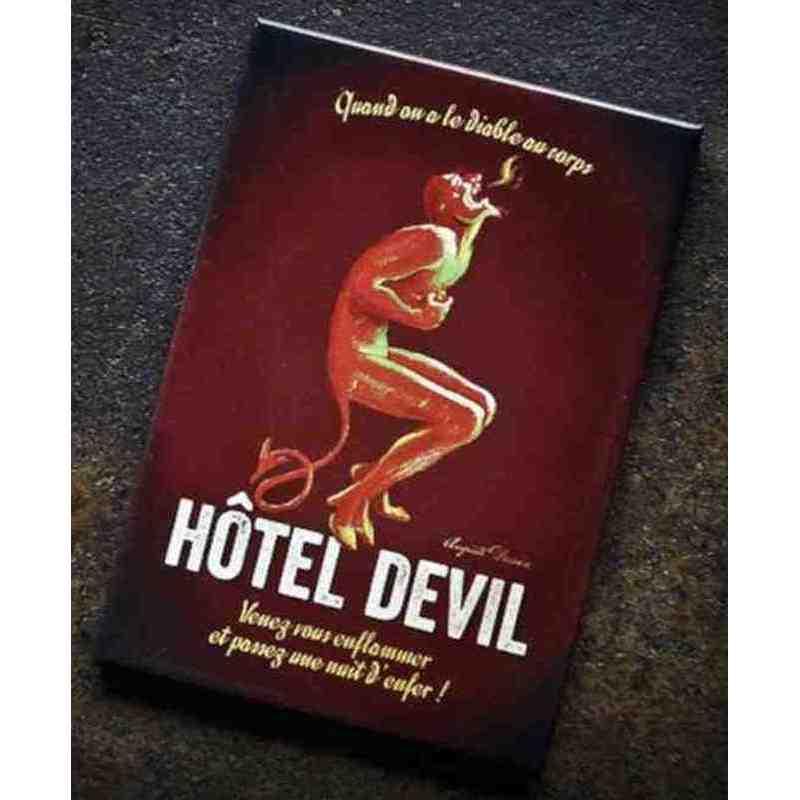"""Magnet humoristique """"Hôtel Devil""""."""