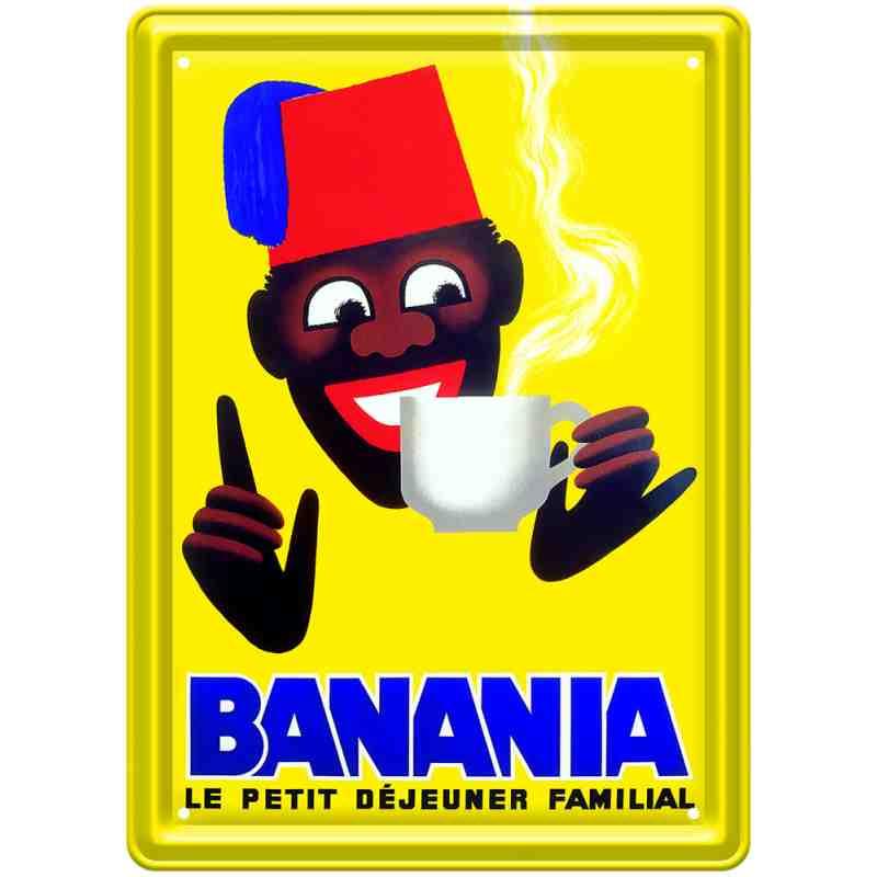 """Plaque en métal pub ancienne """"Chocolat Banania"""" - 30 x 40 cm."""