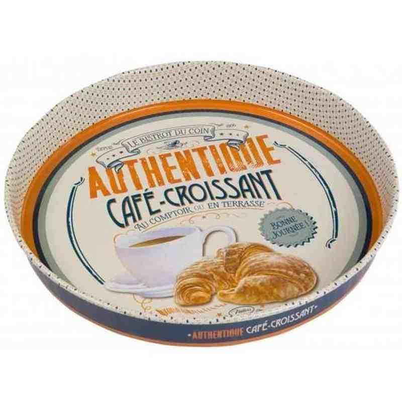 """Plateau Métal Rond """"Café Croissant"""" - Natives Deco."""