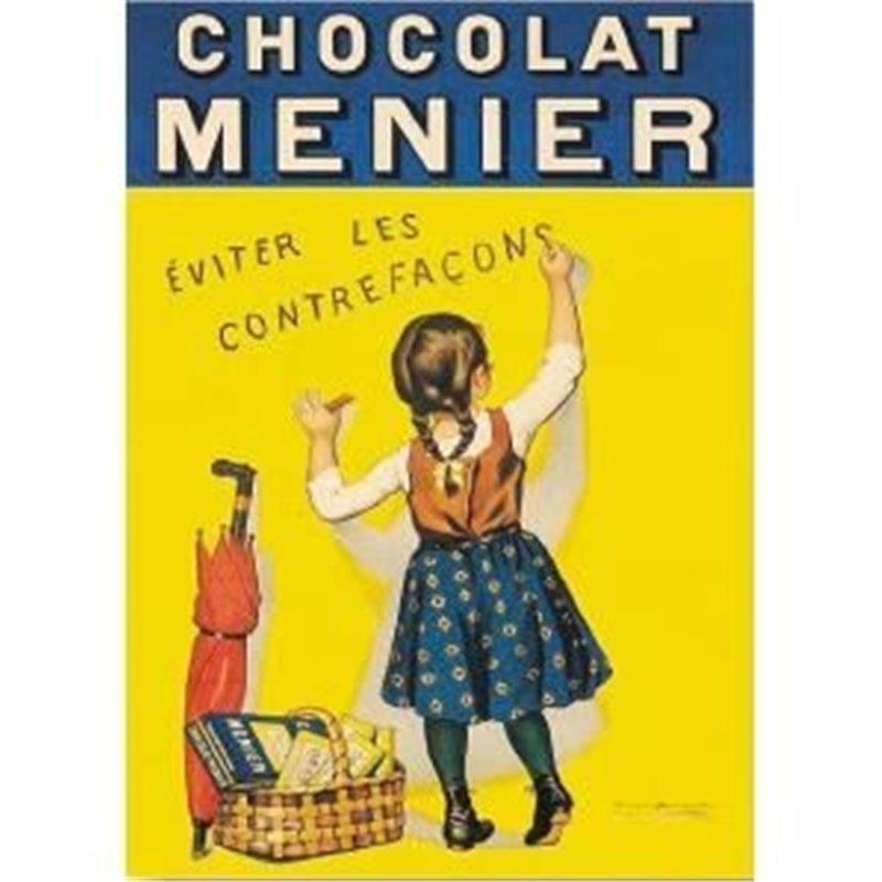 """Plaque métal ancienne """"Chocolat Menier"""" 30 x 40"""
