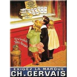 """Plaque métal pub ancienne """"Gervais"""" 30 x 40"""