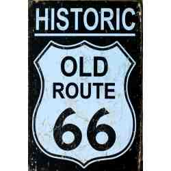 "Plaque Métal US ""Old Route 66"" - 20 x 30 cm."