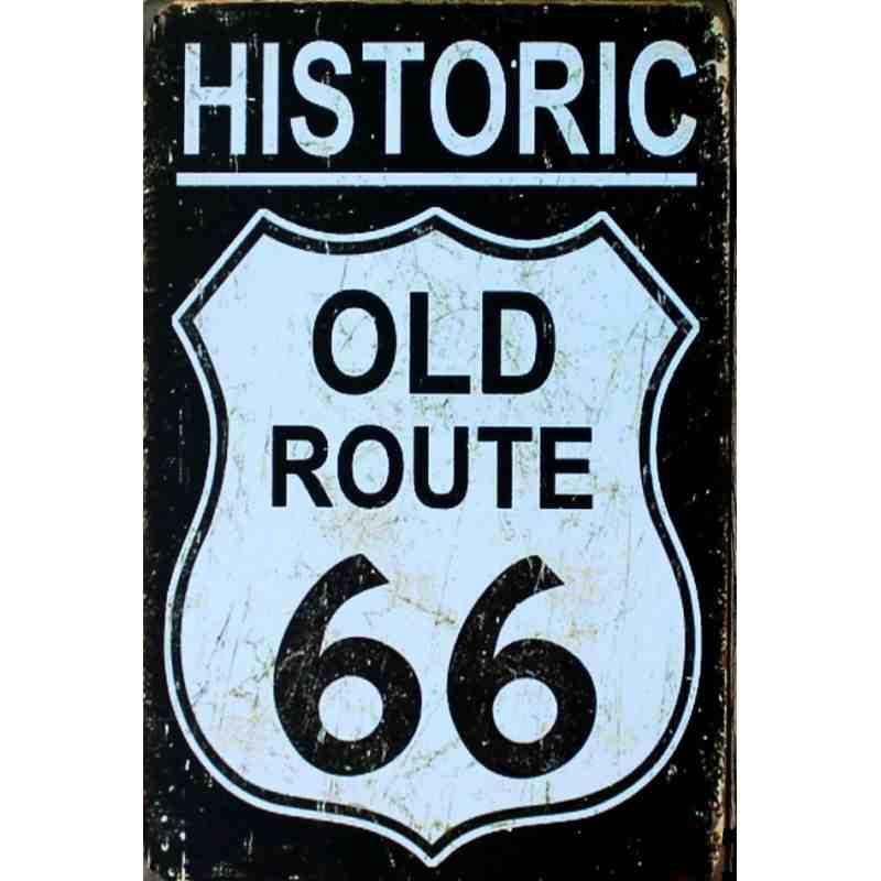 """Plaque Métal US """"Old Route 66"""" - 20 x 30 cm."""
