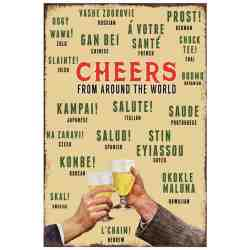 "Plaque Métal US ""Cheers From Around The World"" - 20 x 30 cm."