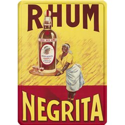 "Plaque métal ""Rhum Negrita"" - style vintage - 30 x 40 cm"