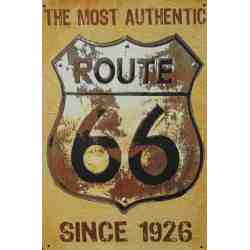 "Plaque Métal US ""Route 66 - Authentic..."