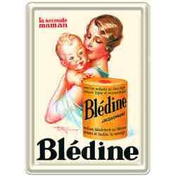 """Plaque Métal Pub Ancienne Déco """"Blédine"""" - 15 x 21 cm."""