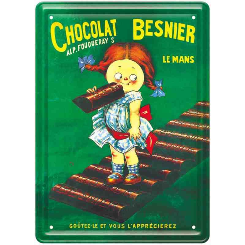 """Plaque métal publicitaire """"Fillette - Chocolat Besnier"""" - 15 x 21 cm"""
