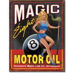 "Plaque Métal US ""Magic Eight - Motor Oil""..."