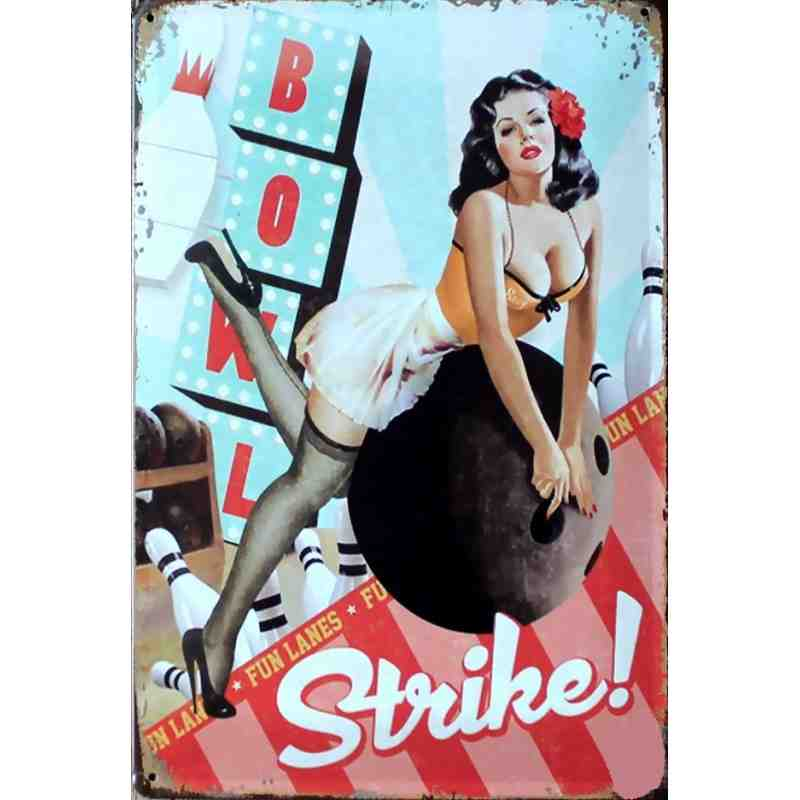 "Plaque Métal US ""Pin Up Bowling Strike"" - 20 x 30 cm"