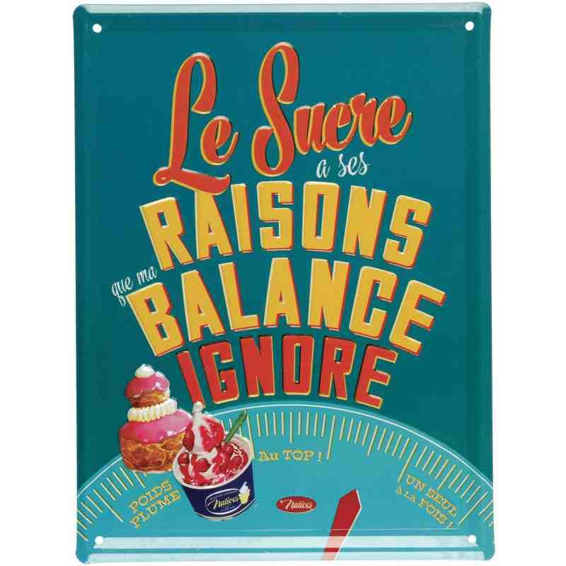 """Plaque Métal """"Sucre et Balance"""" - 15 x 20 cm."""