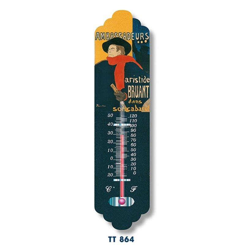 """Thermomètre métal """"Aristide Bruant"""" vintage ancien"""