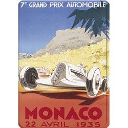 Plaque métal GP Monaco 1935 - automobile ancienne - 15 x 21