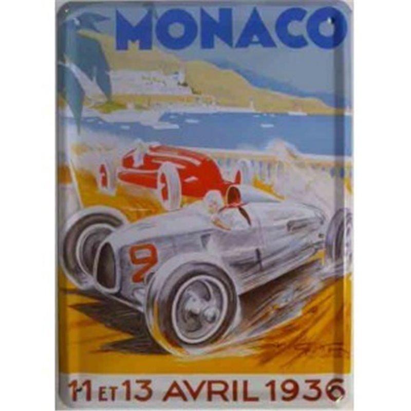 """Plaque métal  """"GP Monaco 1936"""" -Automobile ancienne 15 x 21"""