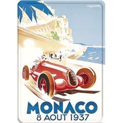 Plaque métal GP Monaco 1937 - automobile ancienne 15 x 21