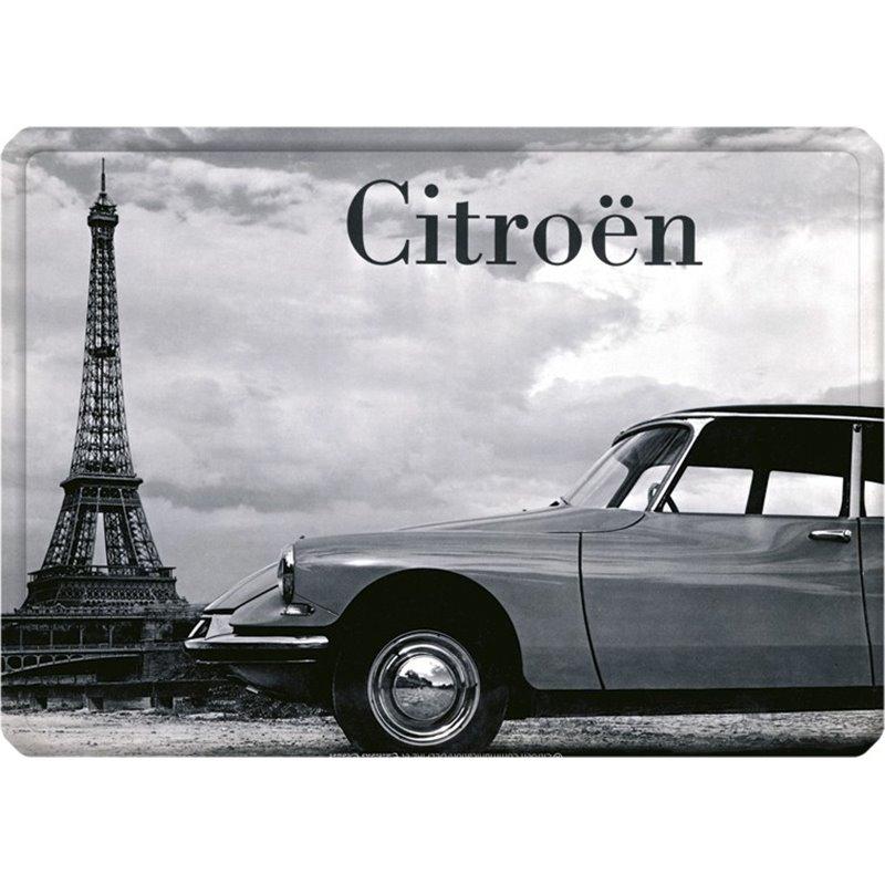 Plaque métal Citroen DS Tour Eiffel - auto ancienne 15 x 21