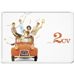 Plaque métal Citroen 2CV - automobile ancienne 15 x 21