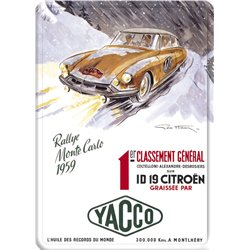 Plaque métal Citroen DS rallye Monte Carlo - Pub Yacco - 15 x 21