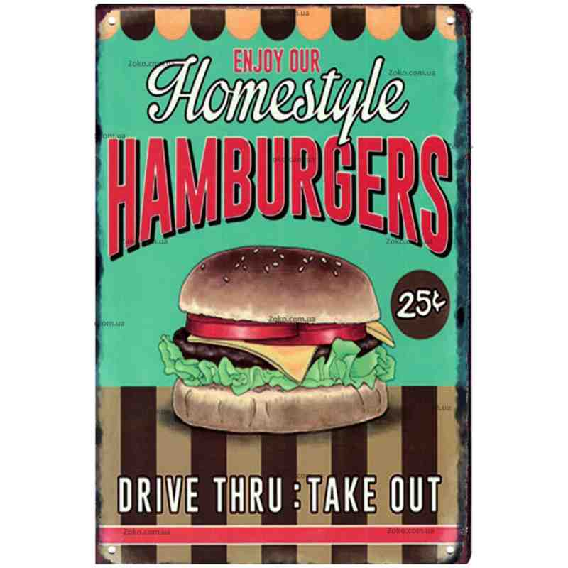 "Plaque Métal US ""Hamburgers Homestyle"" - 20 x 30 cm."