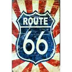 """Plaque Métal Déco """"Route 66"""" - 20 x 30 cm."""