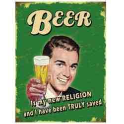 """Plaque Métal """"Beer is my new religion"""" - 20 x 30 cm."""