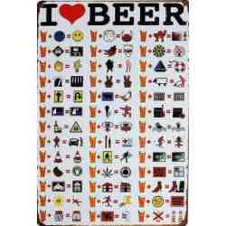 """Plaque Métal """"I love beer"""" - 20 x 30"""