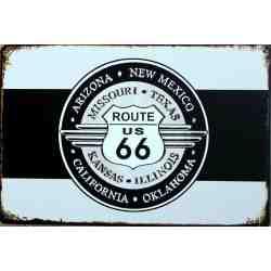 """Plaque Métal """"Route US 66"""" - 20 x 30 cm."""