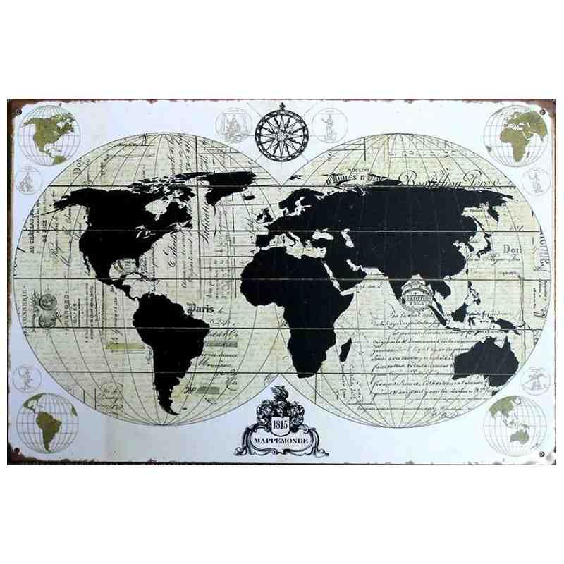 """Plaque Métal """"Mappemonde 1815"""" - 20 x 30 cm."""