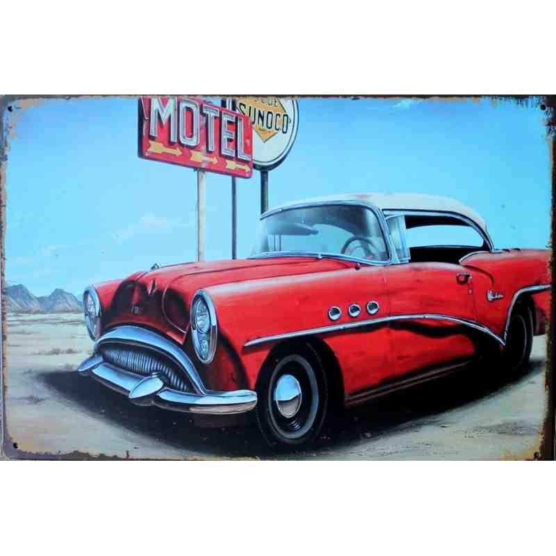 """Plaque Métal US """"Motel""""  - 20 x 30 cm."""