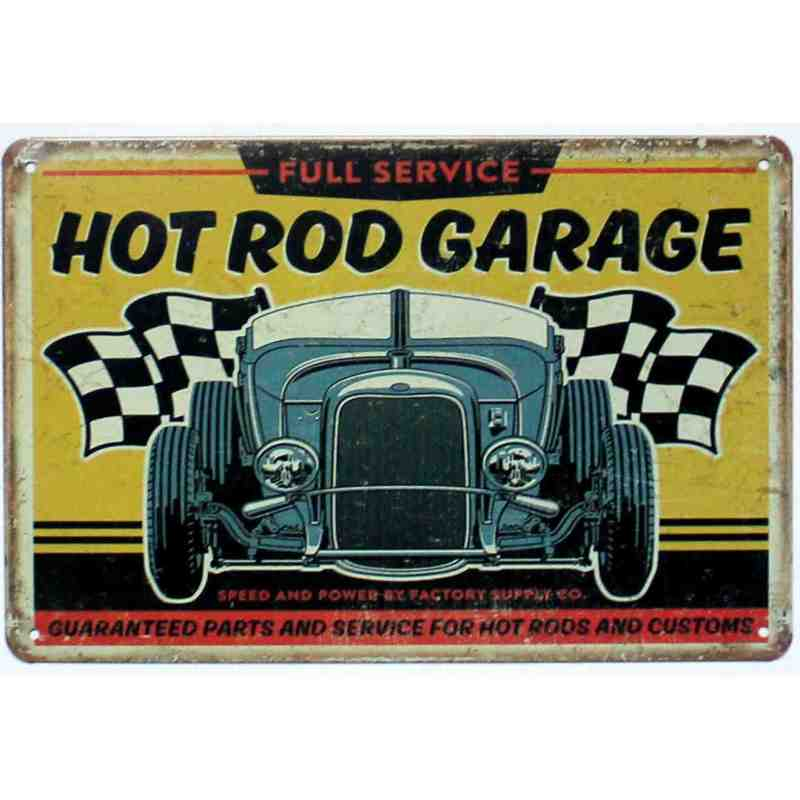 "Plaque Métal US ""Hot rod garage - full service"" - 20 x 30 cm."
