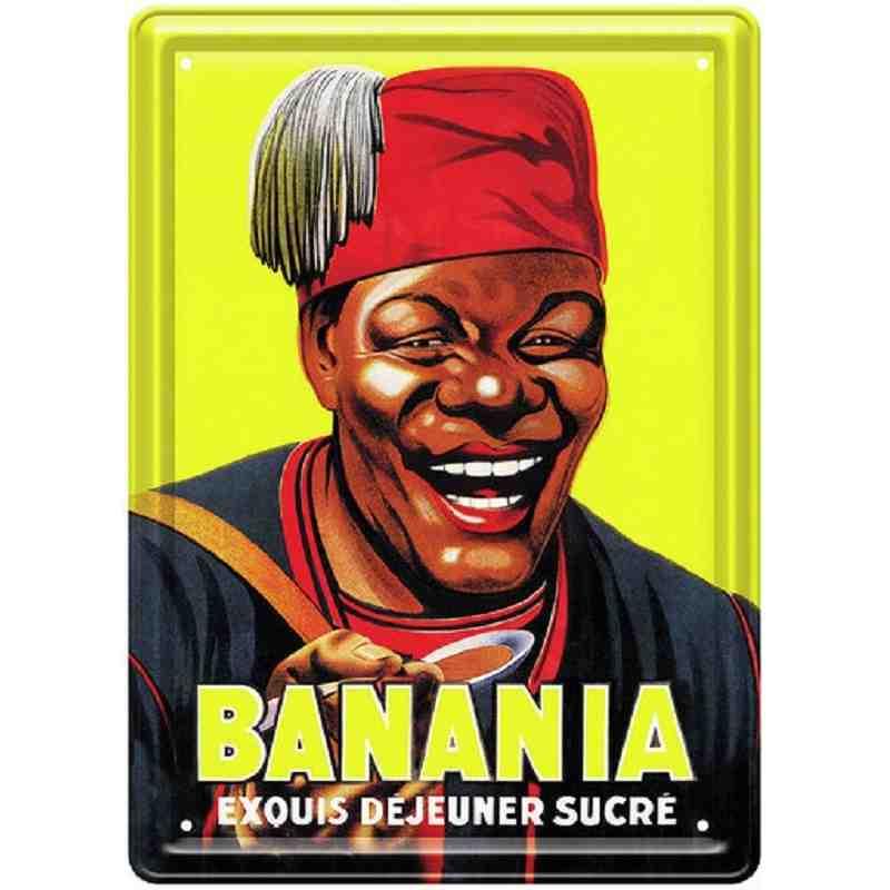 """Plaque publicitaire """"Banania, exquis déjeuner sucré"""" - 15 x 21 cm."""