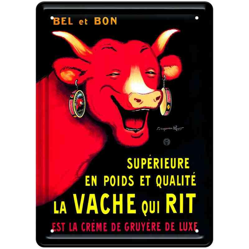 """Plaque métal pub ancienne """"La Vache Qui Rit"""" - 30 x 40 cm."""