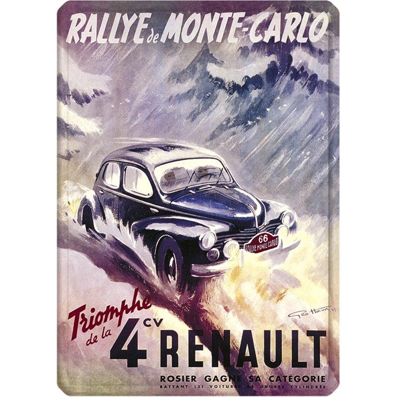 Plaque métal Renault 4CV Rallye de Monte Carlo - 30 x 40 cm.