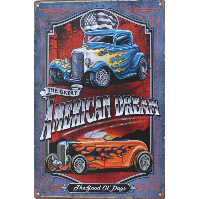 "Plaque Métal ""American Dream"" - 20 x 30 cm."