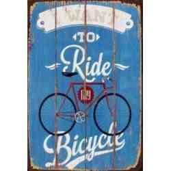 "Plaque Métal ""Ride My Bicycle"" - 20 x 30 cm."