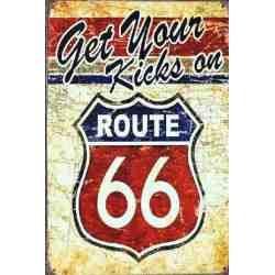 """Plaque Métal US """"Route 66 - Get your..."""