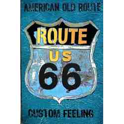 "Plaque Métal US ""American Old Route 66"" - 20 x 30 cm."