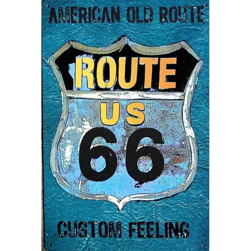 """Plaque Métal US """"American Old Route 66"""" - 20 x 30 cm."""