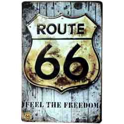 "Plaque Métal US ""Route 66 Feel The Freedom"" - 20 x 30 cm."