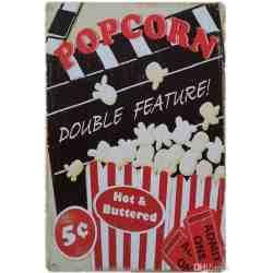 """Plaque Métal """"Pop Corn Double Feature"""" - 20 x 30 cm."""