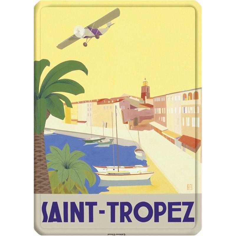 """Plaque métal panorama """"Saint-Tropez"""" style rétro - 15 x 21"""