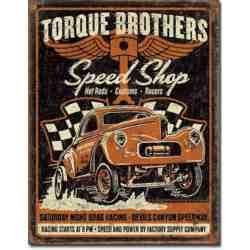 "Plaque Publicitaire ""Torque Brothers"" - 20 x 30 cm."