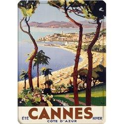 """Plaque métal ancienne paysage """"Cannes"""" - 15 x 21 cm"""