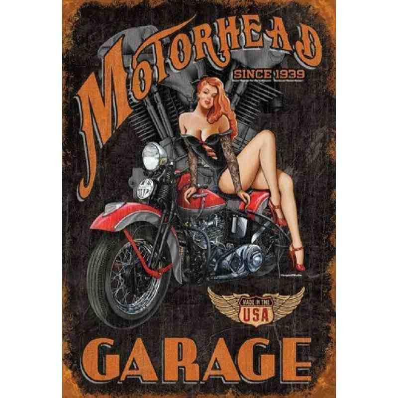 "Plaque Métal US ""Motorhead Garage"" - 20 x 30 cm."