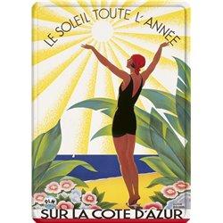 """Plaque métal paysage plage """"Côte d'Azur"""" - 15 x 21 cm"""