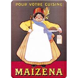 """Plaque métal publicité ancienne """"Maizena"""" - 15 x 21 cm"""