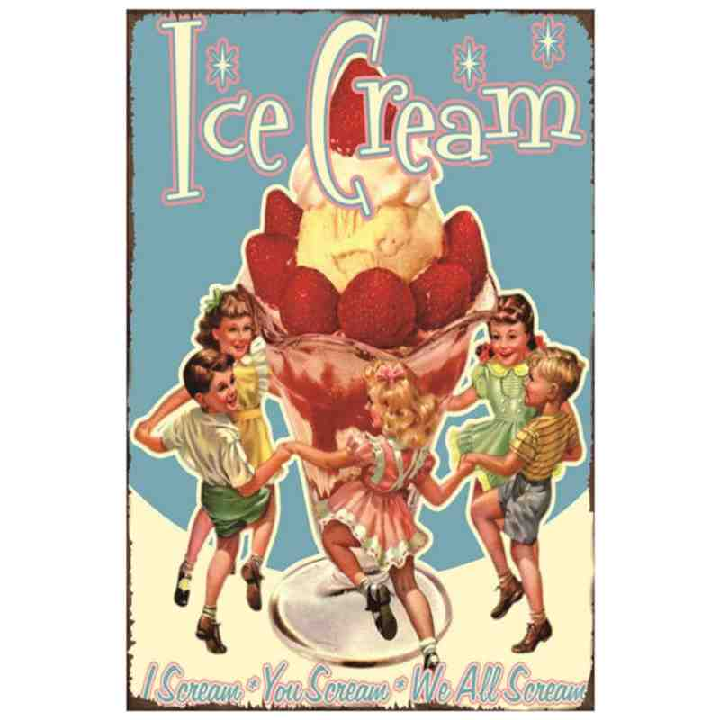 "Plaque Métal Déco ""Ice Cream - We All Scream"" - 20 x 30 cm."
